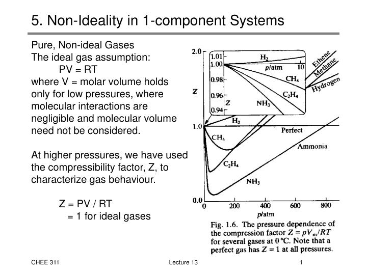 5 non ideality in 1 component systems n.