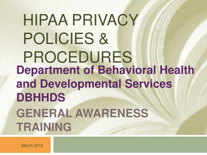 hipaa privacy policies procedures n.