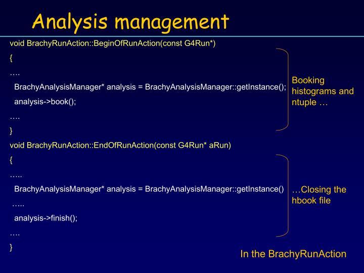 Analysis management