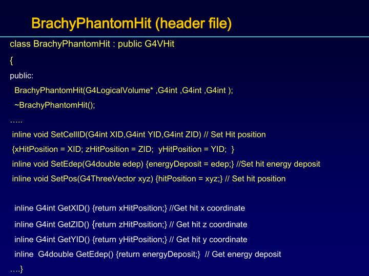 BrachyPhantomHit (header file)