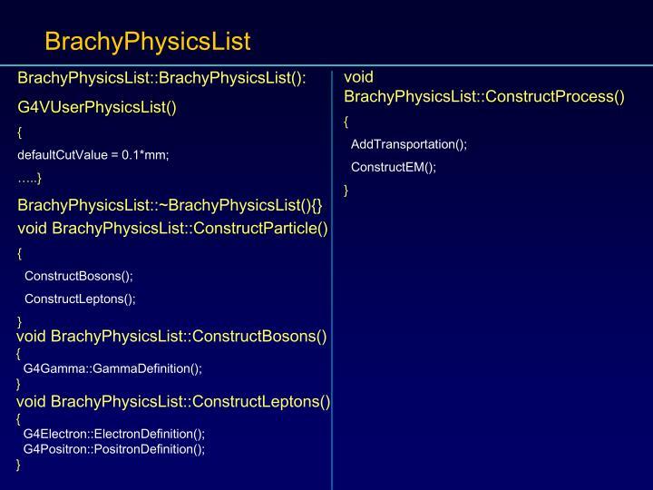 BrachyPhysicsList