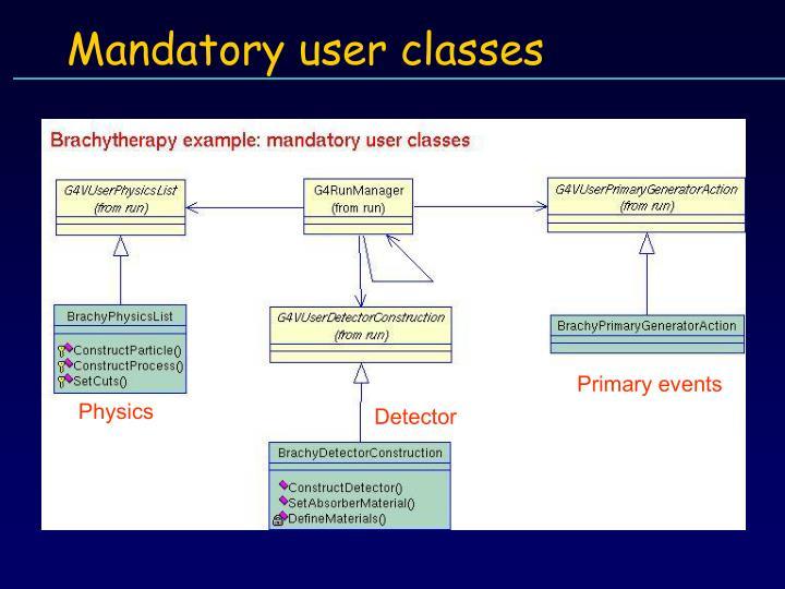 Mandatory user classes