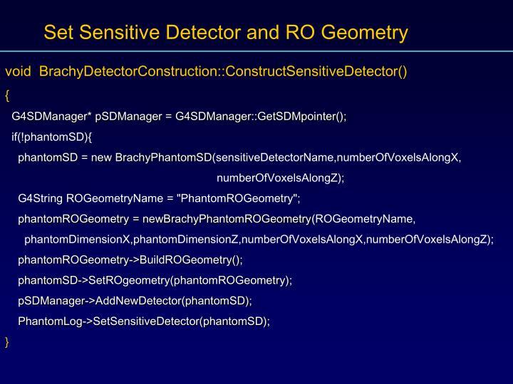 Set Sensitive Detector and RO Geometry