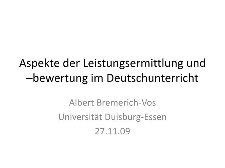 aspekte der leistungsermittlung und bewertung im deutschunterricht n.