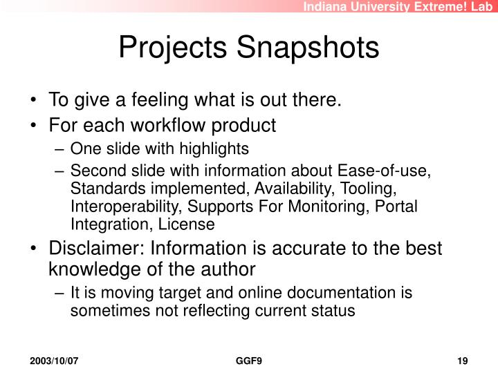 Projects Snapshots