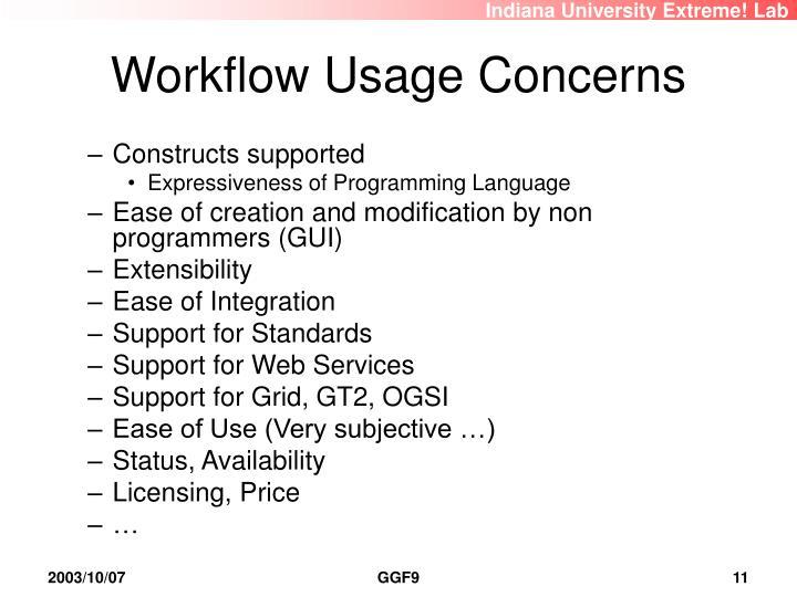Workflow Usage Concerns