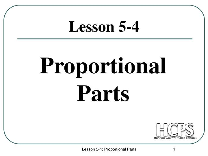 proportional parts n.