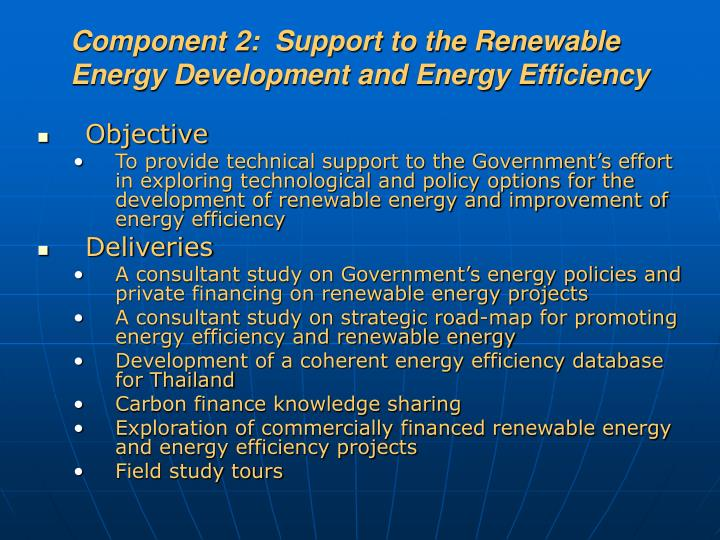 Component 2:  Support to the Renewable Energy Development and Energy Efficiency