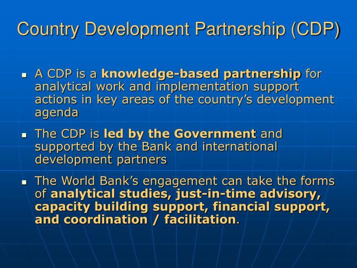 Country development partnership cdp