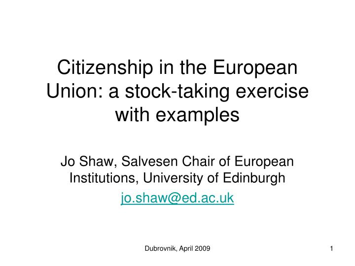 citizenship in the european union a stock taking exercise with examples n.