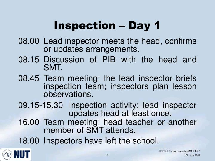 Inspection – Day 1