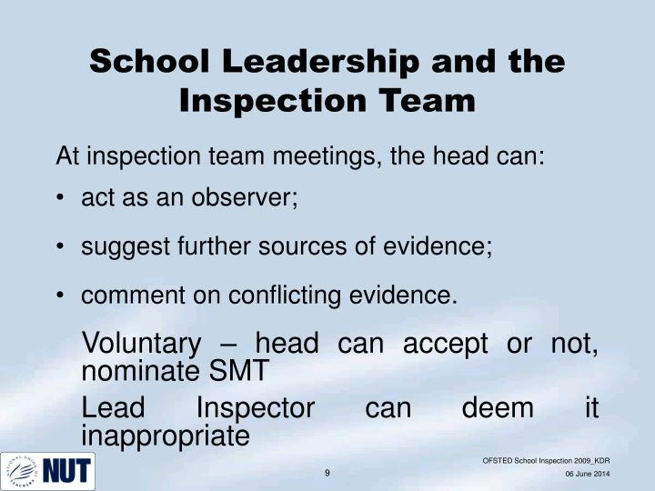 School Leadership and the Inspection Team