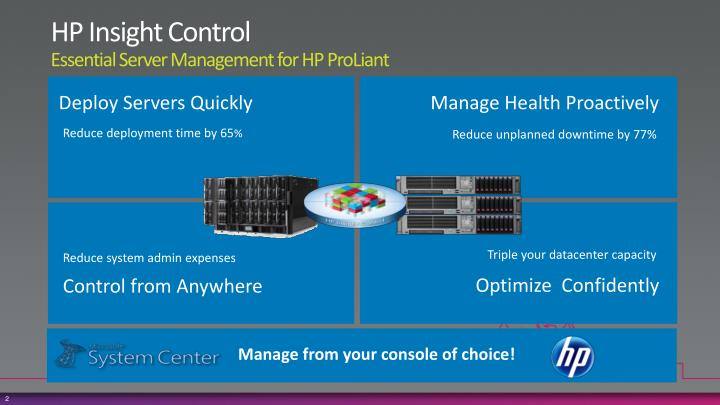 Hp insight control essential server management for hp proliant