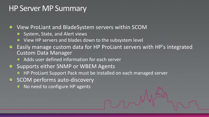 HP Server MP Summary