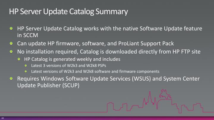 HP Server Update Catalog Summary
