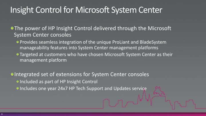 Insight control for microsoft system center