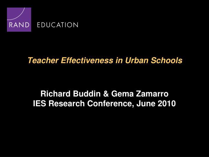 teacher effectiveness in urban schools n.