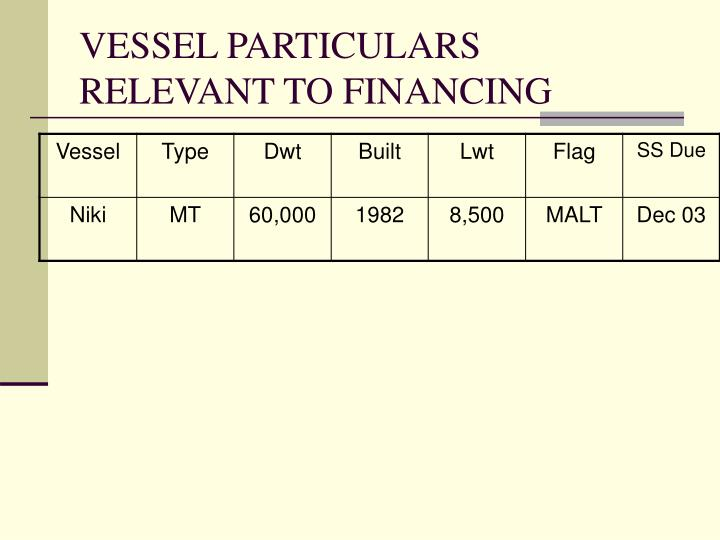 VESSEL PARTICULARS RELEVANT TO FINANCING