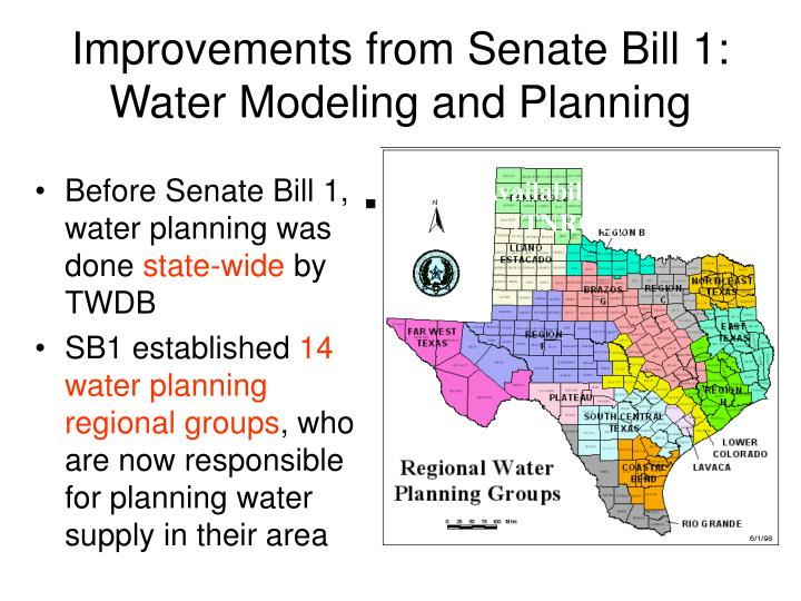Improvements from senate bill 1 water modeling and planning
