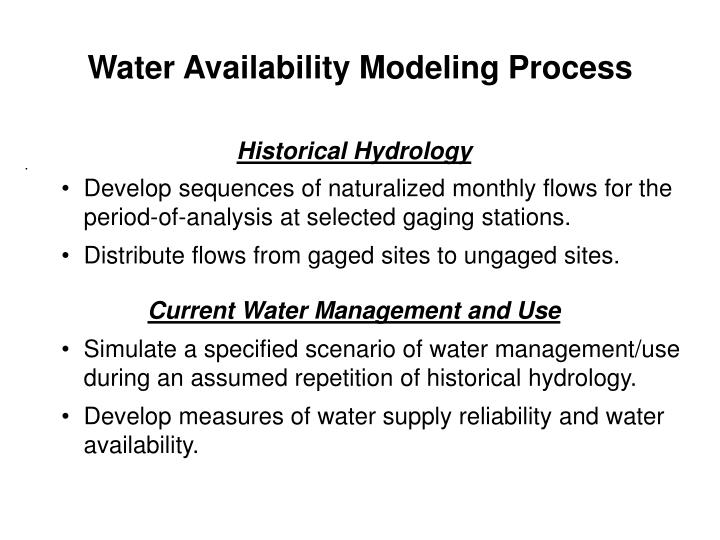 Water Availability Modeling Process