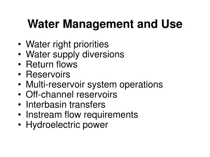 Water Management and Use