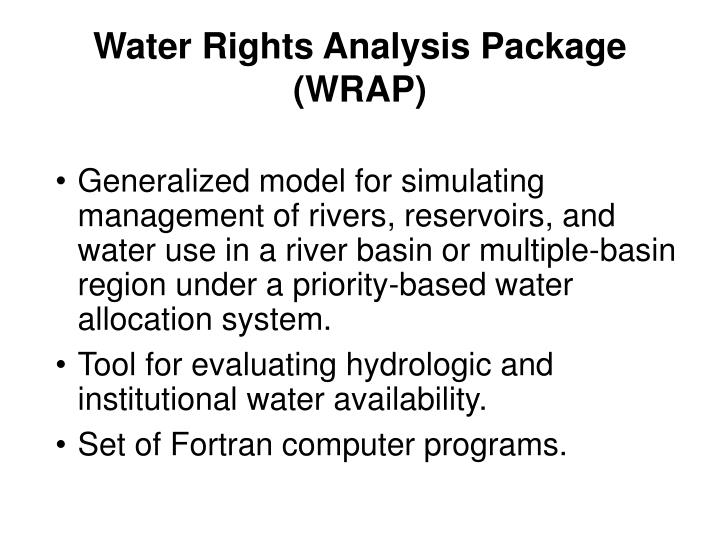 Water Rights Analysis Package (WRAP)