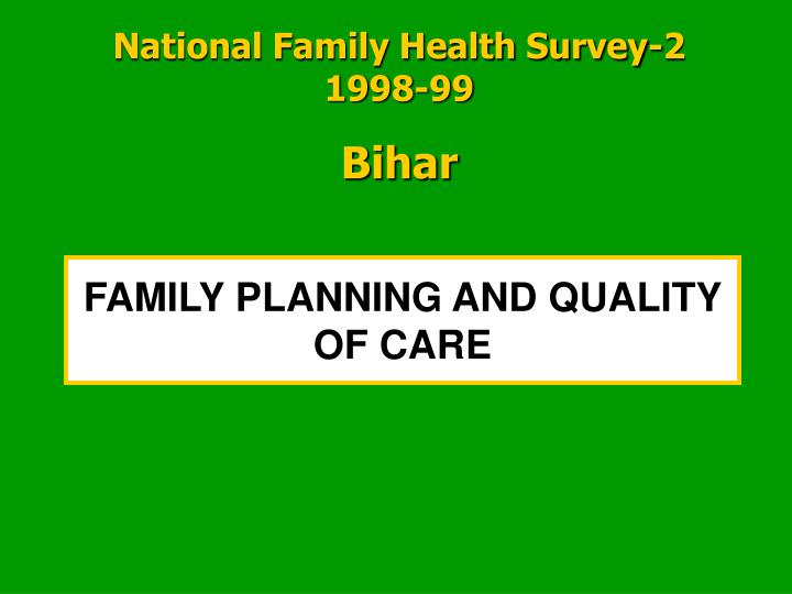 family planning and quality of care n.