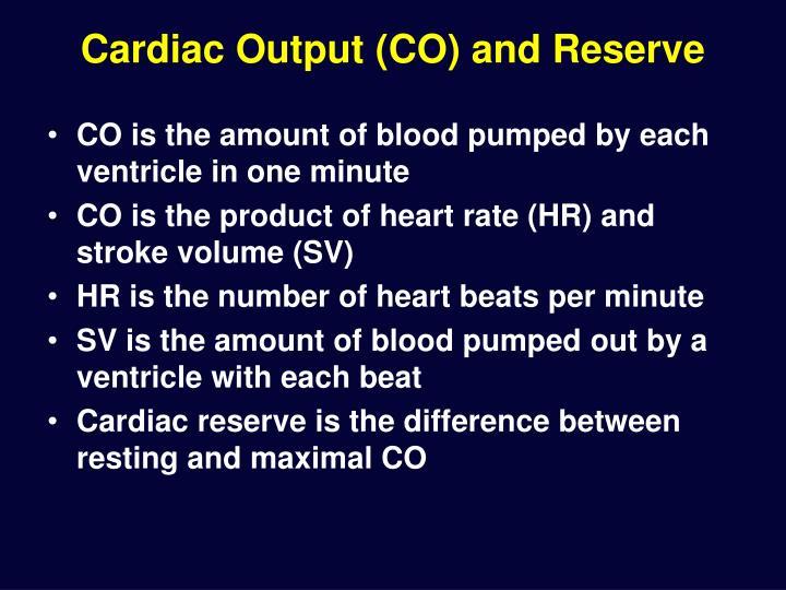 Cardiac Output (CO) and Reserve