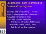 education for peace experiment in bosnia and herzegovina