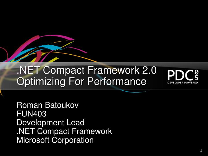 net compact framework 2 0 optimizing for performance n.