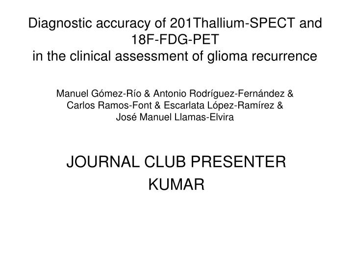 journal club presenter kumar n.
