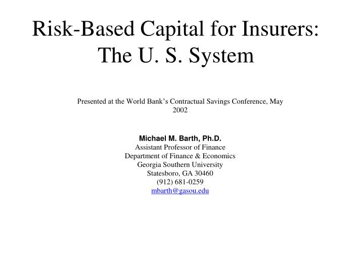 risk based capital for insurers the u s system n.