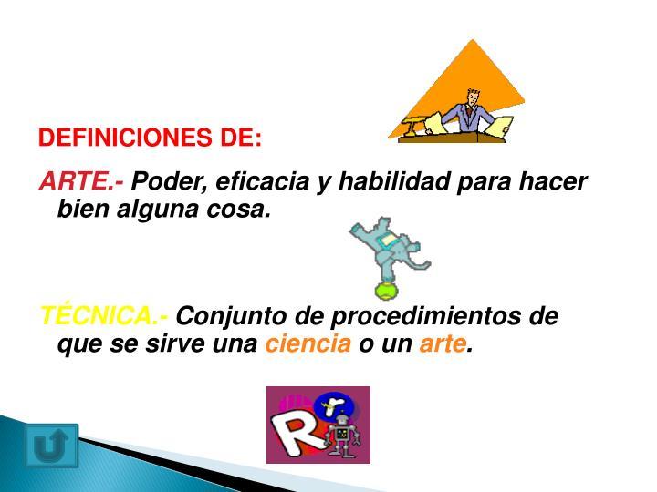 DEFINICIONES DE: