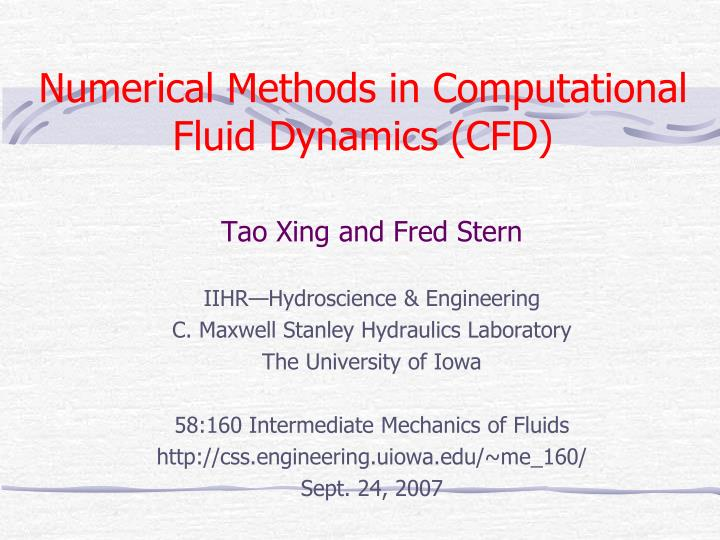 numerical methods in computational fluid dynamics cfd n.