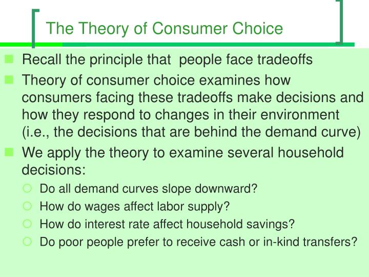 the theory of consumer choice n.
