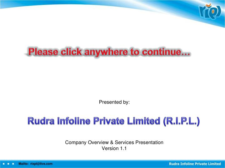 presented by company overview services presentation version 1 1 n.
