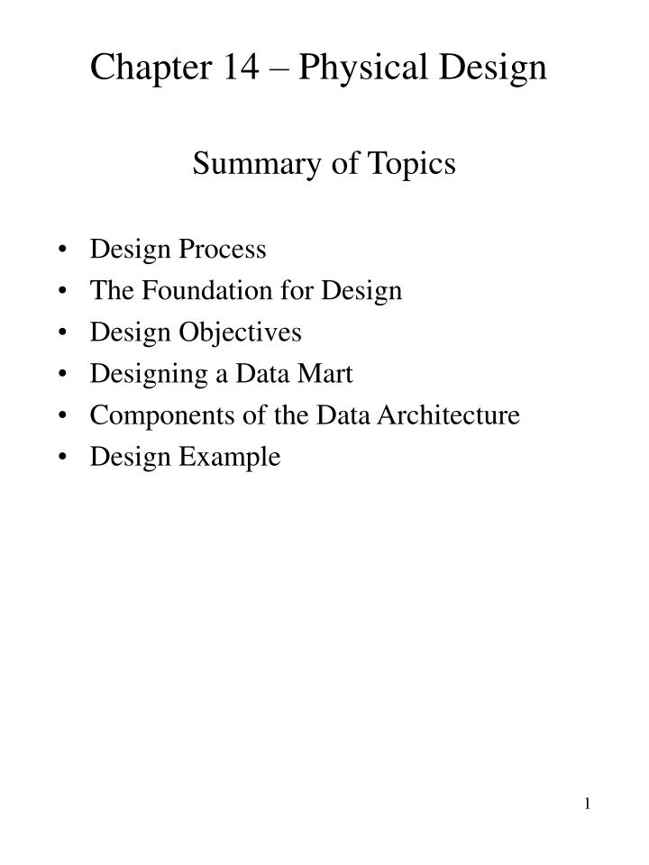 chapter 14 physical design n.