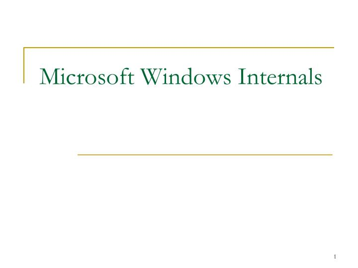 microsoft windows internals n.