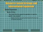 resource based strategy and international expansion4