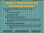 resource based strategy and international expansion7