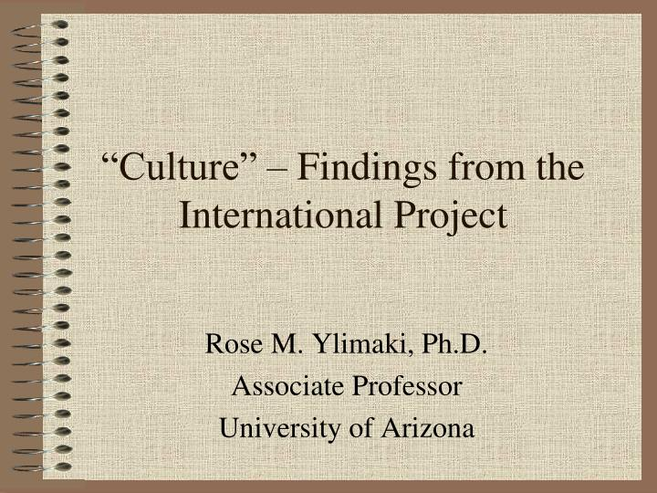 culture findings from the international project n.