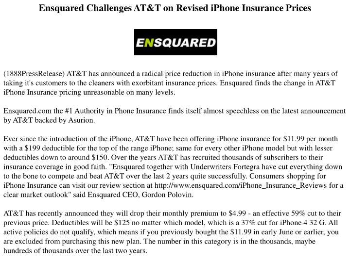Ensquared Challenges AT&T on Revised iPhone Insurance Prices