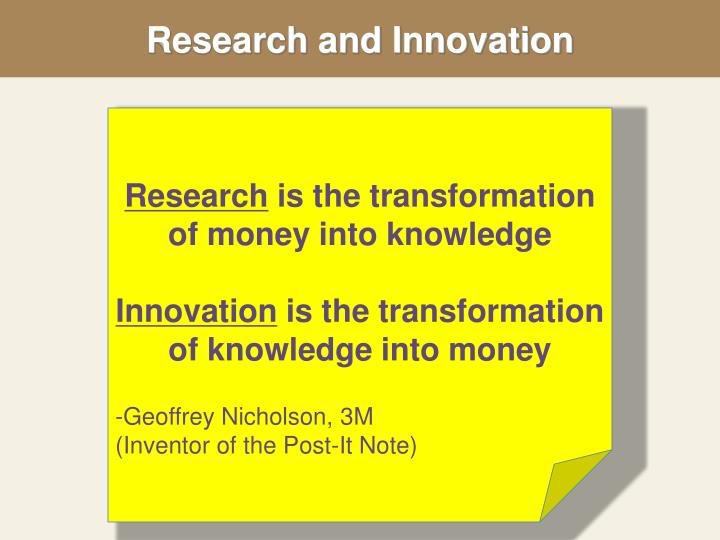 research and innovation n.