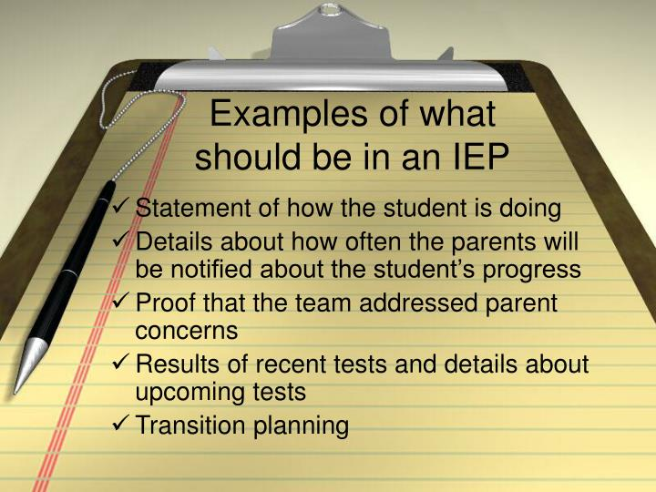 Examples of what should be in an IEP