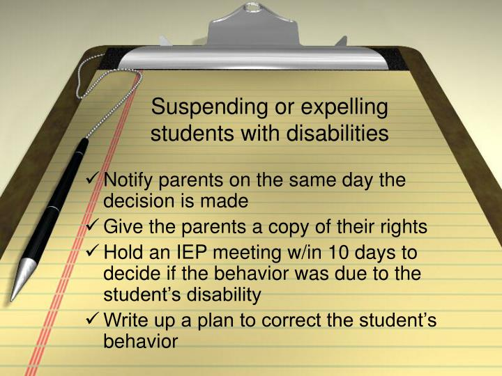 Suspending or expelling students with disabilities