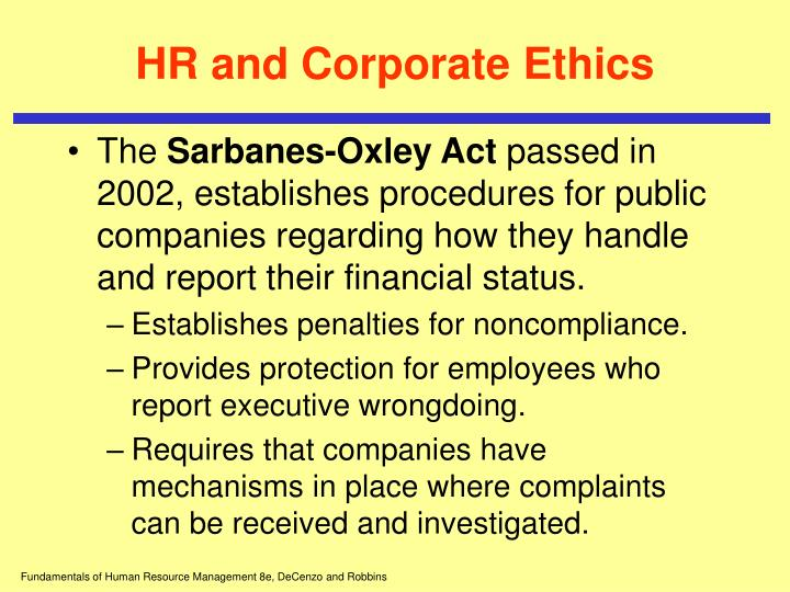 HR and Corporate Ethics