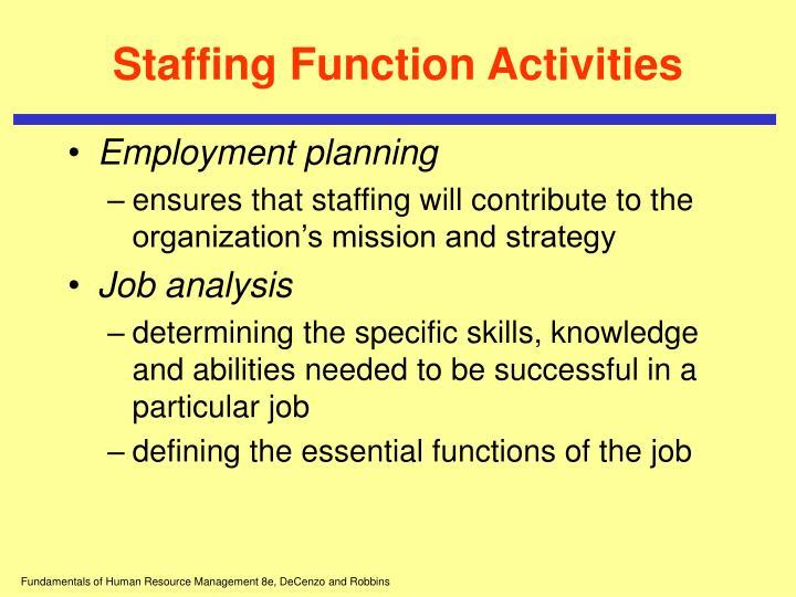 Staffing Function Activities