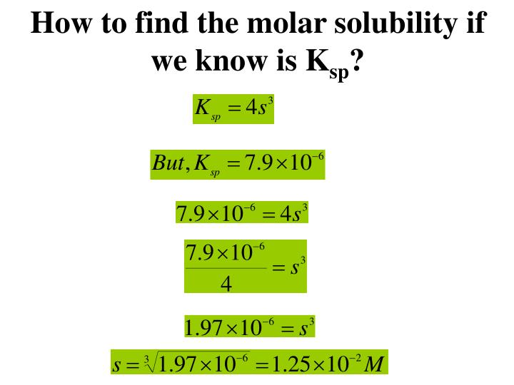 How to find the molar solubility if