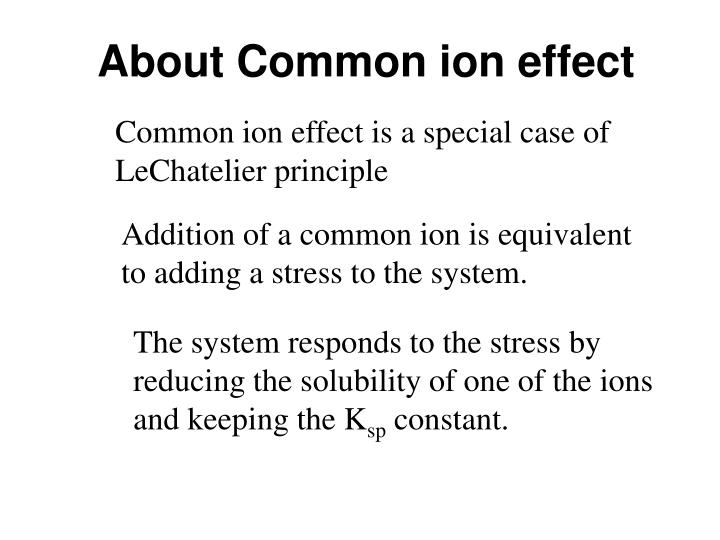 About Common ion effect