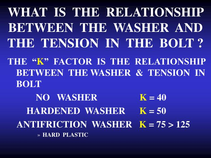 WHAT  IS  THE  RELATIONSHIP  BETWEEN  THE  WASHER  AND  THE  TENSION  IN  THE  BOLT ?
